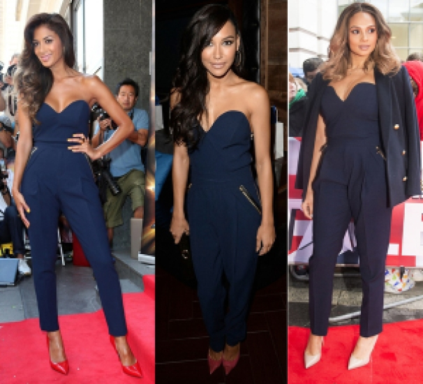 alesha-dixon-three-floor-navy-blue-jumpsuit-naya-rivera-nicole-scheringer