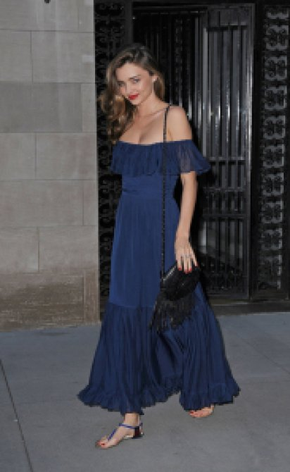 Miranda-Kerr-feminine-ever-off-shoulder-navy-maxi