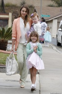 Jessica Alba and Cash Warren take their adorable daughters Honor and Haven to Jessica's parents' house on Easter Sunday in Los Angeles