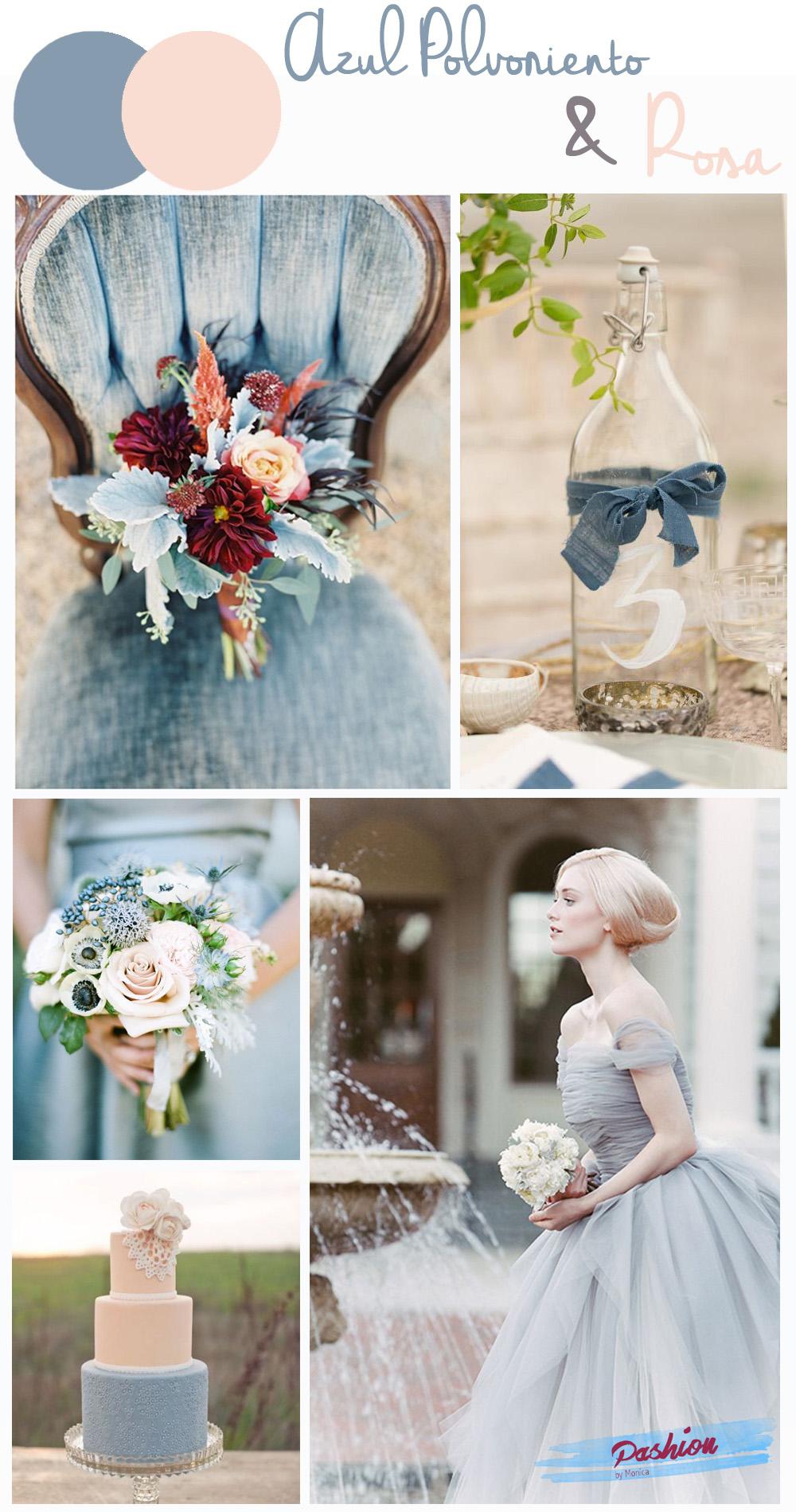 Rosa y azul colores de la boda
